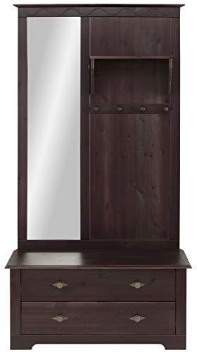 Loft 24 A/S Kompaktgarderobe Dielenschrank Garderoben-Set Flurmöbel Landhausstil Kiefer Massivholz Sitzbank 2 Schubladen Spiegel 1 Paneel 95 x 45 x 181 cm (Havanna lackiert)