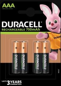 Duracell 75050950batteria ricaricabile, NiMH, 750mAh, 1.2V, AAA
