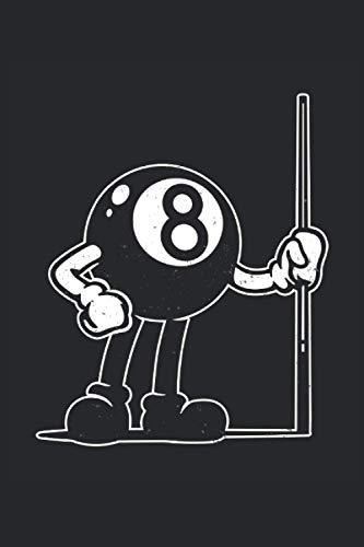 Billiard Ball Cartoon: Snooker Pool Billiard 8-Ball mit Cue vintage Geschenke Notizbuch liniert (A5 Format, 15,24 x 22,86 cm, 120 Seiten)