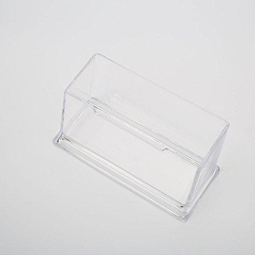 Chnrong 10 soportes para tarjetas de visita de plástico de 2 niveles, organizador de tarjetas transparente para escritorio de oficina