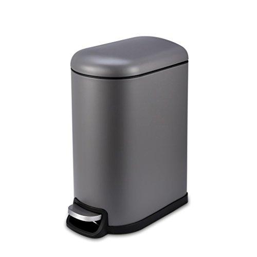 NYDZDM poubelle de ménage, Poubelle créative de désodorisant de Mute d'acier Inoxydable de pédale de Cuisine (Color : Gray)