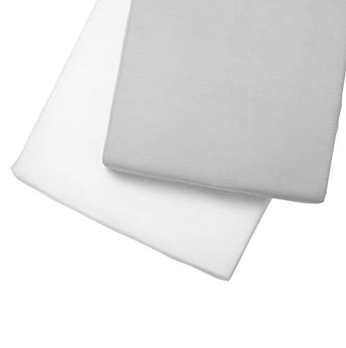 Clair de Lune Muslin Clair de Lune Muslin 2 Pack hoeslaken voor kinderbedjes Cot Bed (140 x 70 cm) Grijs/Wit