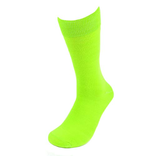 Feraricci Solid Color Polyester Socks for Men, Casual and Formal Attire Mid Rise Men's Crew Socks - Lime