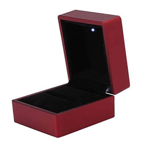 DAUERHAFT Caja de Anillo de Boda Caja de Anillo Luces LED para Uso en Boda Material de embrión de Goma Color Rojo Negro