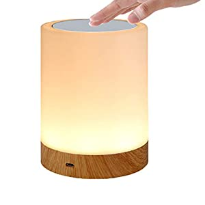 KEEPBLANCE Bedside Table Lamp Dimmable Touch Nightlight with Color Changing Touch Senor USB Charging Port for Bedroom Living Room Office