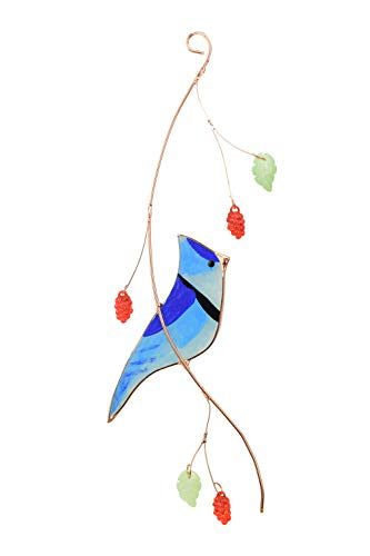 Blue Jay Sonnenfänger aus Buntglas, zum Aufhängen, ein schönes Geschenk für Ihre Familie