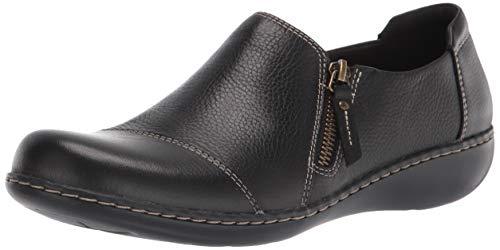 Clarks Women's Ashland Palm Loafer, Black Leather, 11 Narrow