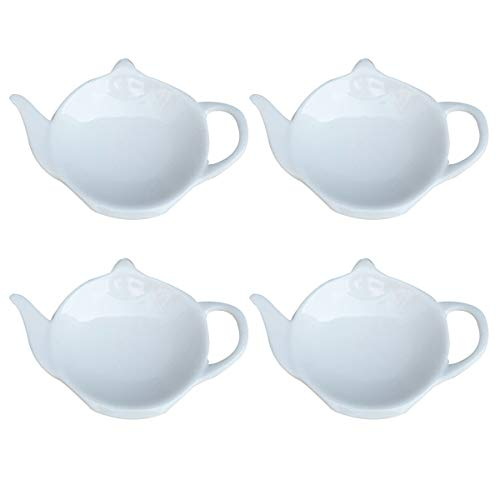 Sauce Boat 4-piece Ceramic Gravy Boat Butter Dish for Sauces Tea Bags Jams Butter,White Gravy Boats