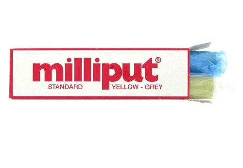 Milliput Paquete estándar de 2 palillos 1 masilla epoxi amarilla y 1 gris, paquete de 113 g