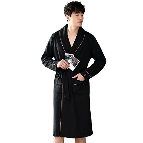 YLKCU Batas de Kimono de Lujo para Hombre, Bata súper Suave de 100% algodón de Manga Larga con cinturón, Albornoz de Verano con Cuello en v para Regalar en la Fiesta de la Ducha en casa, Negro, 4XL