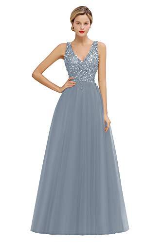MisShow Damen elegant Ballkleider Tief V Ausschnitt Tüll Abendkleid Maxilang Abschlusskleid Blau 32