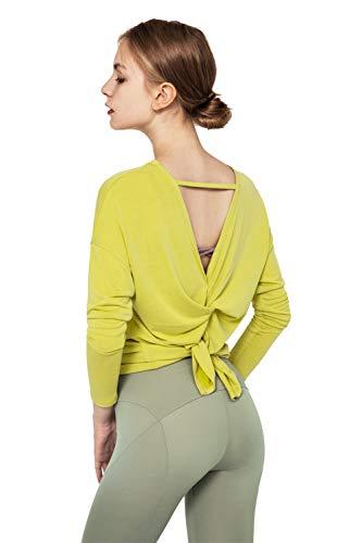 Leisofter Tops da Allenamento Donna T-Shirts da Yoga per Donna Aperte sul Retro vestibilità Ampia Palestra Esercizio Pilates Abbigliamento Magliette Sportive Maniche Lunghe