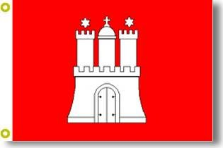 Top Qualität - Flagge HAMBURG MIT WAPPEN Fahne, 90 x 150 cm, EXTREM REIßFEST, Keine BILLIG-CHINAWARE, Stoffgewicht ca. 100 g/m², sehr robust, extra starke Messing-Ösen - mehrfach umlaufend genäht, ideal als Hissflagge Hissfahne für Innen/Außen, für Haus, Garten zur Deko