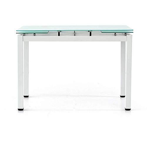 Spazio Casa Tavolo in Vetro Rettangolare allungabile - 110 x 70, Bianco