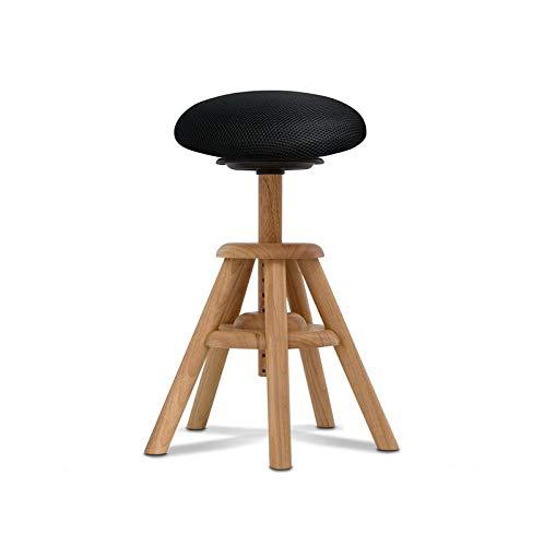 BALIMO WOOD, aus Naturholz, Bürohocker, Sitzhocker, ergonomischer Rücken-Trainer, Bezug schwarz, mit Softpolster