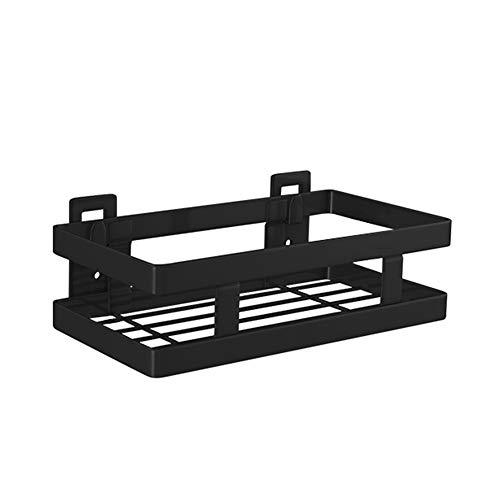 Decdeal Doucheplank, zonder boren, 1 etage, zwart, douchecaddy keukenrek, kruidenrek, zonder boren, roestvrij staal, wandrek, drijvend rek voor keuken, badkamer, 20-50 cm breed