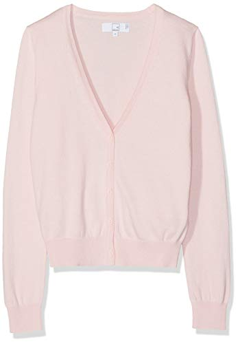 Amazon-Marke: MERAKI Baumwoll-Strickjacke Damen mit V-Ausschnitt, Rosa (Pale Pink), 42, Label: XL