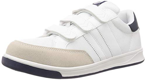 [サンダンス] 安全靴/作業靴 マジックテープ メッシュ 通気性 スニーカー BR-04 ホワイト/ネイビー 28 cm 3E