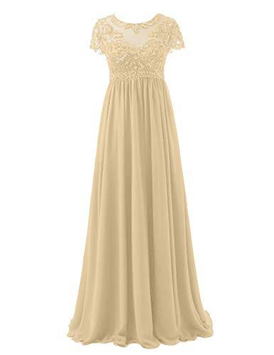 Abendkleider Lang Chiffon Brautmutterkleider Festkleid A-Linie Empire Ballkleid Groß Größe Hochzeits Partykleid Champagne 54