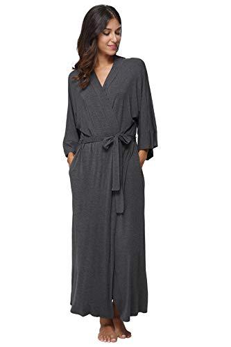 Plus Size Long Robes for Women Plus Size Long Kimonos Plus Size Bathrobes Full Length Sleepwear Maternity Plus Dressing Gown, Grey
