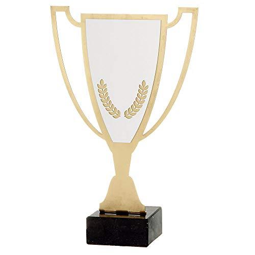 Trofeos Martínez – Trofeo en Hierro bañado en Color Oro con Chapa en Aluminio Personalizable. (28cm)