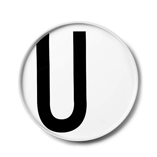 Design Letters Assiette Personnalisée en Blanc Porcelaine Fine de A-Z - U – Assiette Decorative, Idéal décorer, comme Cadeau Personnel, ou pour Les Repas, Compatible Lave-Vaisselle, D: 20cm