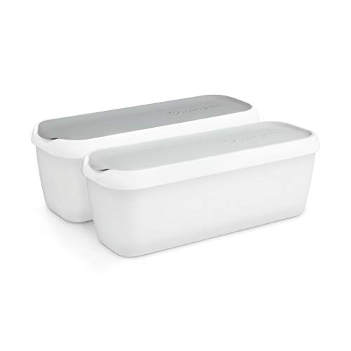 2er-Set Eisbehälter für Speiseeis 1 L, Aufbewahrungsbehälter, Gefrierdosen, Eis-Container BPA-frei in Lebensmittelqualität
