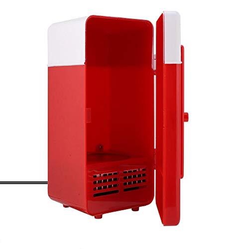 Topiky Mini Frigorifero, Mini Frigorifero con congelatore 10W PC-USB Mini Frigorifero refrigeratore/riscaldatore per Box, casa, Ufficio, Camera da Letto, Garage(Rosso)