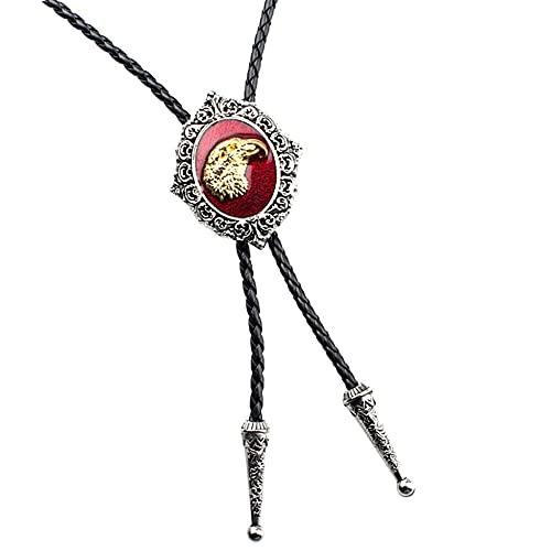 Wuyuana Bolo Tie - Corbata de piel para hombre, estilo bolo, color rojo