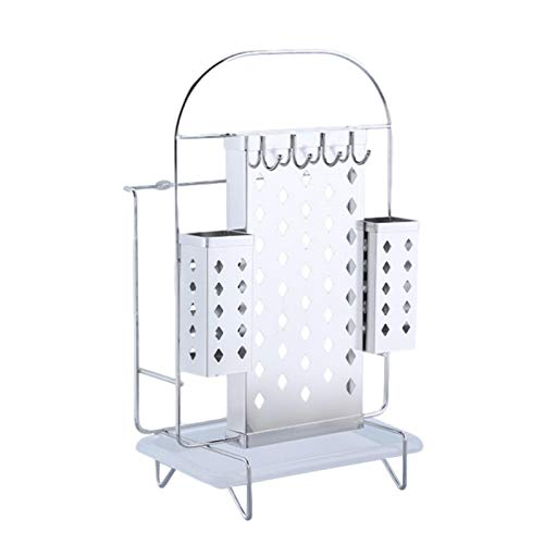 Icefei Stainless Steel Kitchenware Storage Rack, Multifunctional Drainer Rack, Cutlery Holder Stand Drainer, Kitchen Utensil Dish Drying Rack, with Removable Drip Tray
