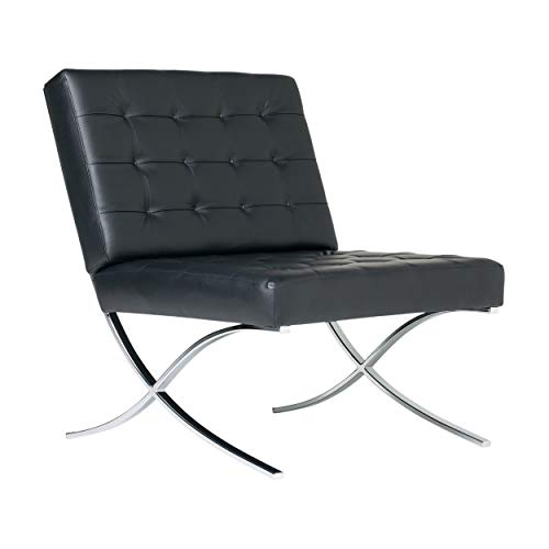 Studio Designs Mid Century Modern Bonded Leather Armless Atrium Accent Decor Lounge Chair Furniture for Home Living Room, Bedroom, or Office (Black)