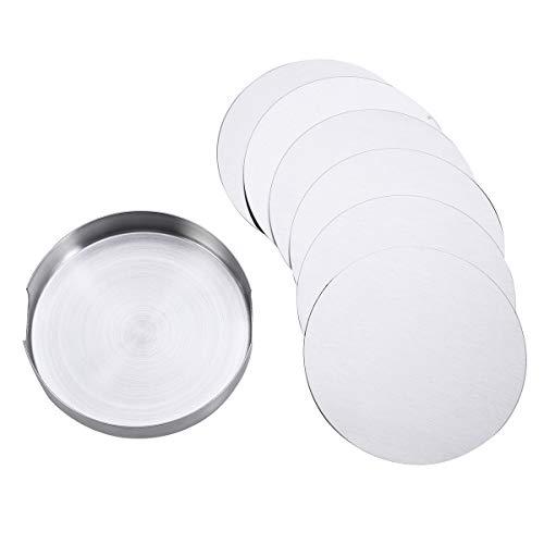 DOITOOL - Set di 6 sottobicchieri rotondi in acciaio INOX, antiscivolo, resistenti al calore, con supporto base (10 x 10 cm)