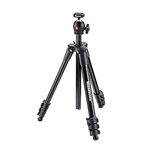 Manfrotto MKCOMPACTLT-BK Compact Light Treppiede con Testa a Sfera per Fotocamere DSLR e Senza Specchio, 4 Sezioni in Alluminio, Nero