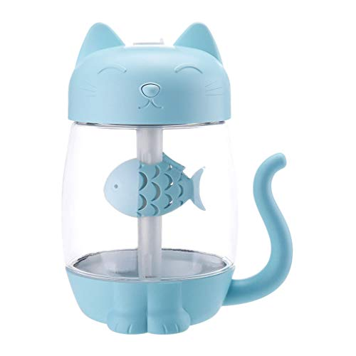 Bonarty 3 In 1 Cute Cat Shape Air Humidifier, Built-in Colorful LED Lights, Portable Fan, USB Powered for Home Office Automovile - Blue