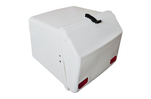 Portaequipajes moto baúl reparto blanco con reflectantes homologados