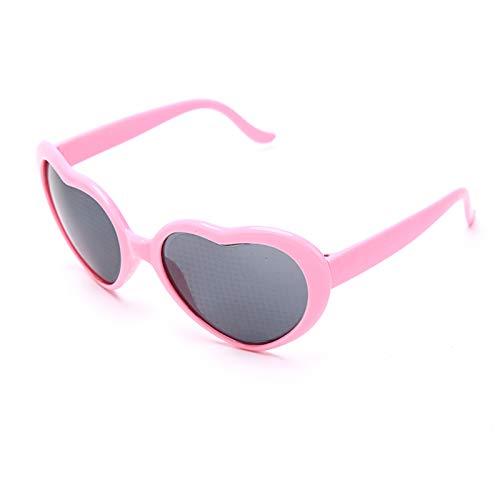 JIAOAO 2 gafas de difracción con efecto de corazón con forma de corazón y efecto especial para tomar fotos y viajes, cristal rosa + caja gris