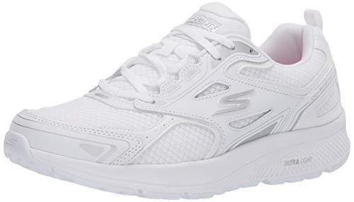 Skechers Go Run Consistent, Sneaker Donna, Bianco (White Leather/Synthetic/Silver Textile WSL), 40 EU