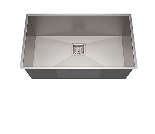 B37 Imported Garnet Series Hand Made, Satin Finish Stainless Steel Kitchen Sink (Size: 24X18X9 Bowl Size: 22X16, Silver) with Coupling and Fruit Basket
