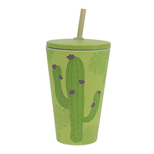 ebos Smoothie-to-Go-Becher aus Bambus, mit Deckel und Strohhalm | Kinderbecher | wiederverwendbar, umweltfreundlich, lebensmittelecht, spülmaschinengeeignet, Verschiedene Designs (Kaktus)