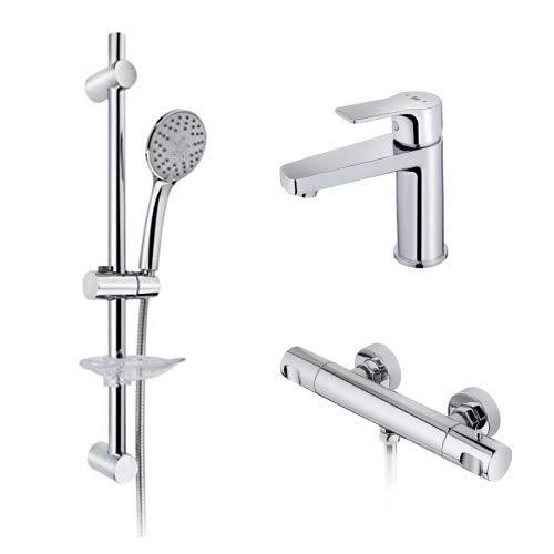 Strohm TEKA – Conjunto de ducha MANACOR. Incluye grifo de lavabo, termostático de ducha, y set de ducha.