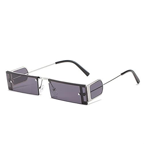 Moda Piccola Quadrata da Sole Occhiali da Sole Signora Vetro Metallo Telaio colorato rettangolo Lente per Occhiali da Donna UV400. Sfumature per Occhiali da Sole (Color : 1, Size : Y)