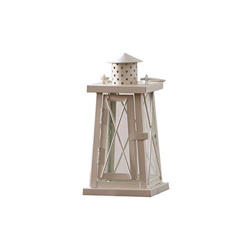 Vintage fer bougie lanterne mariage candélabre extérieur coupe-vent luminaires jardin Accessoires décoration bougie lampe ouragan (Color : White, Taille : S)
