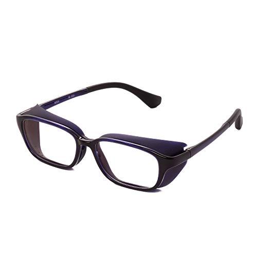 MIDI-ミディ おしゃれ 花粉症対策 2WAY 花粉メガネ 取り外し可能のシリコン製のシールドで花粉・粉塵をガード ブルーライトカットメガネ フレーム:バイオレット レンズ:クリア (M320,C3,+0.00)