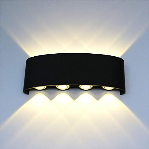 Yfnhy 2 st. led vägglampa, 8 W varmt vit kall vit ljus innerväggslampa, vattentät vägglampa 8 W 2 st trädgårdsportal-Ip65 utomhus kall vit
