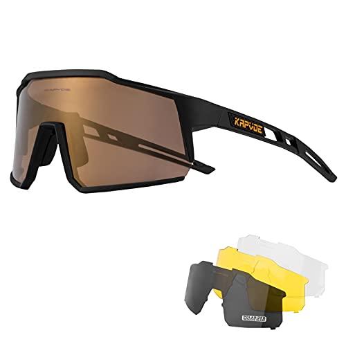 KAPVOE Gafas de Ciclismo Polarizadas con 4 Lentes Intercambiables TR90 Gafas de Sol Deportivas Mujeres Hombres Running MTB Bicicleta Accesorios 04