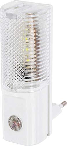 luz nocturna LED para enchufe 230V–con sensor de oscuridad–Auto en de–Solo 1W consumo–Blanco Frío (6000K)