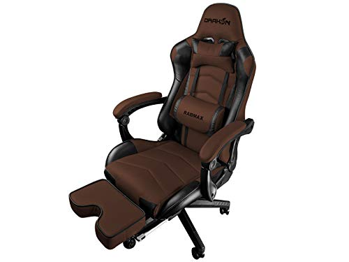 Raidmax DK709 Drakon Gaming Chair Ergonomic Racing Style Pu Leather Seat, Headrest with Foldable Foot/Leg Rest (Brown) chair footrest gaming