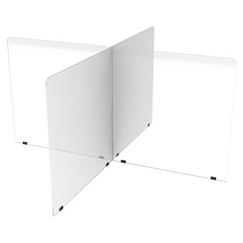 FDP Clear 3/16' Thick In-the-Round 4-Section Acrylic Tabletop Divider; Sneeze, Cough, Talk Guard, Protective Plexiglass Barrier Designed to Fit 48 inch Round and 48 x 48 inch Clover Tables; Seats Four