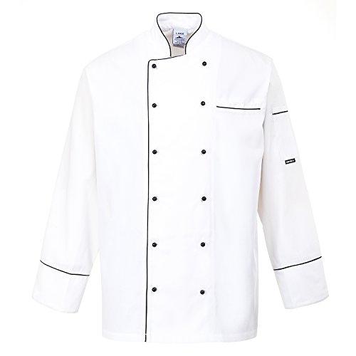 Portwest C775 - Chaqueta Chef Cambridge, color Blanco, talla Small