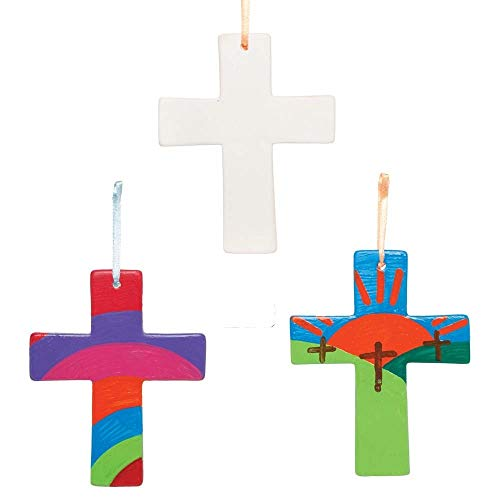 Baker Ross AX783 Cross Decoration Craft - Pack of 5, Design our own Ceramic Hanging Decorations Religious Arts and Crafts for Kids